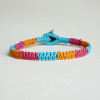 Colorful Macrame Friendship Bracelet in mix of Magenta Pink,Orange,Blue - Gift for Her - Gift under 10 - Summer
