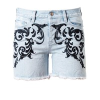 KSUBI | Baroque Embroidered Denim Shorts | Browns fashion &amp; designer clothes &amp; clothing