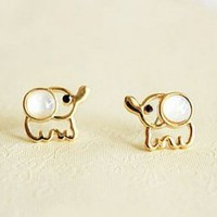 Fashion Opal Elephant Stud Earrings