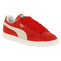 Puma SUEDE CLASSIC RED WHITE Shoes - Puma Trainers - Office Shoes