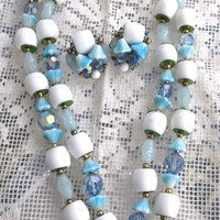 VINTAGE 1940's Czech Glass Bead NECKLACE & EARRINGS Aqua