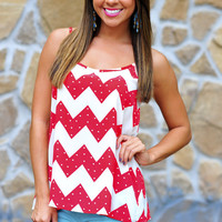 Fool For You Chevron Top: Red | Hope&#x27;s