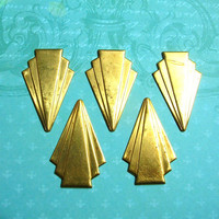 Art Deco brass stamping findings for crafts