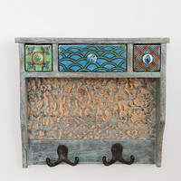 Painted Woodblock Wall Shelf