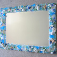 Beach Decor Custom Sea Glass & Shell Mirror - Seashell Mirror w Beach Glass, Starfish - Any Color