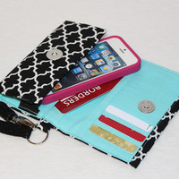 NEW STYLE TECH Cell Phone Case Wristlet iPhone Droid Wallet for Smart Phones / Black / White Lattice / You Choose Interior Color