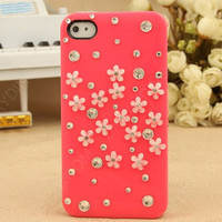 iphone case pink case 3D flower phone4 case iphone4s case iphone 5 case cell phone cases pearl iphone case holiday gift