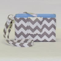 ROOMY TECH Cell Phone Wristlet Case Card Pocket Holder iPhone Wallet Purse / Gray Chevron You Choose Interior Color