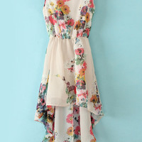 White Sleeveless Bandeau Floral High Low Dress - Sheinside.com