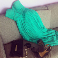 Chic Green chiffon dress/Graduation Dress from Mic Dress