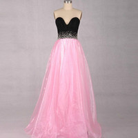 A-line V-neck Sleeveless Floor-length Organza Prom Dresses With Paillette Beading