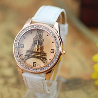 Eiffel Tower Watch, Fashion Wrist Watch White Artificial Leather Watch, Retro Style Women's Watch, Everyday Wrist Watch PB0171