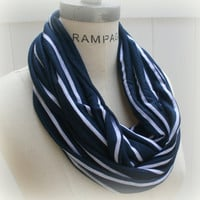 Royal Blue White Stripes Infinity  Scarf  FREE Shipping  Women Scarves Blue Scarf Neckwarmer - by PiYOYO