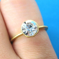 "SALE - Simple White Rhinestone ""Diamond"" Ring in Gold Size 6 ONLY from Dotoly Love"