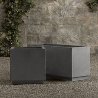 Weathered Cast Stone Cube Planters