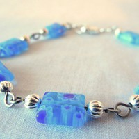 Blue Milifiore Bracelet with Silver Accents, Square Beads, Link Style