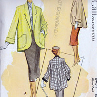 1950s Misses Coat Vintage Sewing Pattern, Swing Coat ,McCall 8431 bust 32&quot; uncut
