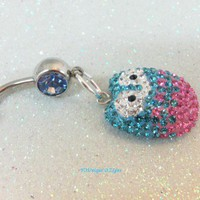 Bellybutton jewelry belly ring w cute aqua, pink and clear crystal owl
