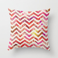 FLORAL CHEVRON Throw Pillow by Bianca Green
