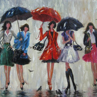 Five Rain Girls Art Print, fashion girls, rain, umbrellas, five sisters, five ladies in rain art, singing in the rain, Vickie Wade Art