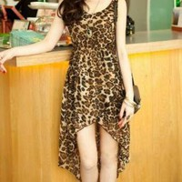 CHIC LEOPARD PRINT HIGH LOW DRESS