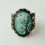 SHOP SALE- Aqua Turquoise or Dusty Rose Winter Tree Filigree Statement Ring. Birds. Winter Tree. Full Moon. Sky