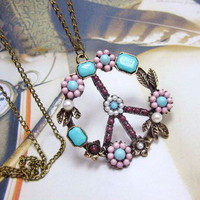 Flower Peace Necklace from Just So Cute