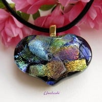 Queen of Hearts Pastel Dichroic Handmade Glossy Fused Glass Pendant