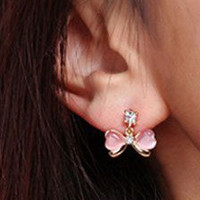 Bow Rhinestone Earring from Zefashionista
