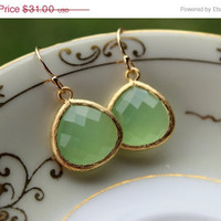 MOTHERS DAY SALE Large Peridot Opal Earrings Gold Plated by laalee