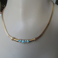 1980 necklace choker, faux turquoise rhinestone, decorative jewellery