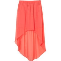 Teens Coral Chiffon Dip Hem Skirt