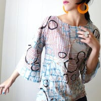 Dizzy Atmosphere - iheartfink Handmade Hand Printed Art Graffiti Style Print  Womens Colorful  Bell Sleeve Top