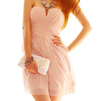 Pink Sweet Cocktail Strapless Low-cut Dress