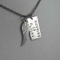 RUNNING IS FLYING Necklace - Running Necklace on 18 inch gunmetal chain - Running Jewelry - Running Necklace