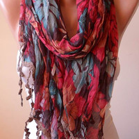 Mother's Day -  Colorful Linen Scarf  with Trim Edge