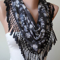 Triangular Scarf  - Mother's Day Gift - Black and Grey Flowered Scarf with Black Trim Edge