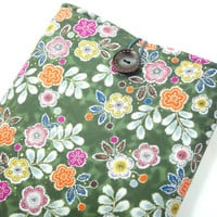 "11"" Macbook Air Case, Fabric Macbook Covers, Gift For Her, Japanese Kimono Cotton Fabric Plum Blossoms Green"