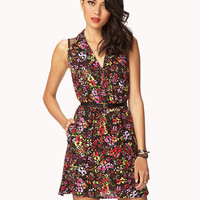 Dotted Mesh Floral Dress w/ Belt | FOREVER 21 - 2024254229