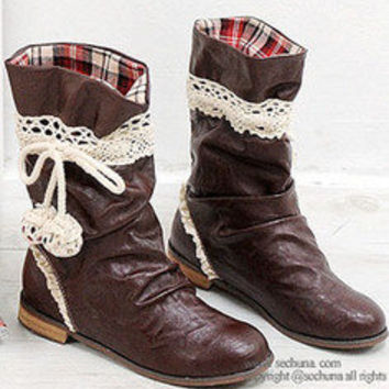 AsiaJam.com Fashion Boutique | Mid-Cut Lace Boots w/ Pom Pom