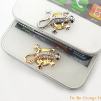 Mother's Day Special Sale 1PC Crystal Lizard Alloy Apple iPhone Home Button Sticker for iPhone 4,4s,4g, iPhone 5, iPad, Cell Phone Charm