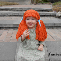 Doll Wig Cabbage Patch Inspired Baby Hat Baby Girl Halloween Costume Pageant Hair Orange Yarn
