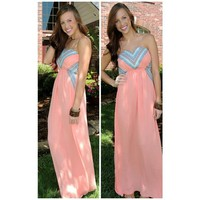 SweetHeart Summer Maxi in Peach from Monica's Closet Essentials