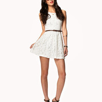 Floral Lace Dress w/ Belt | FOREVER 21 - 2042405381
