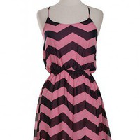 Pink Navy Chevron Dress - Bella Style Boutique