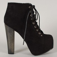 Breckelle Britney-01 Suede Lace Up Platform Bootie