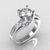 Modern Bridal 950 Platinum 1.0 Carat CZ Diamond Solitaire Ring R145-PLATDCZ