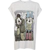 Grey Mickey and Minnie Mouse print t-shirt
