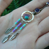 purple and turquoise center dreamcatcher belly ring turquoise and amethyst in native american tribal boho belly dancer and hipster style