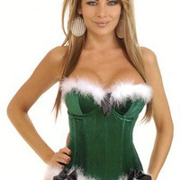 Green Holiday Helper Velvet Corset Intimates @ Amiclubwear Intimates Clothing online store:Lingerie,Corset,Bustier,Women's Intimates,Sexy Intimate,Corset Intimates,intimates underwear,sheer intimates,silk intimates,intimates bras,holiday underwear,garter